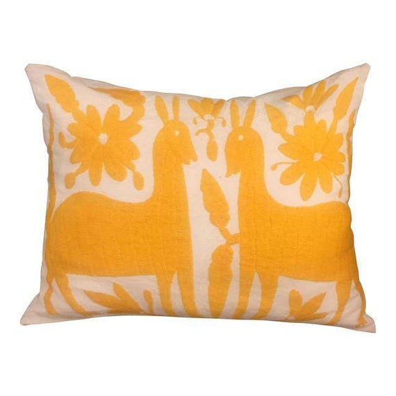 Yellow Mexican Otomi Handmade Embroidery Pillow