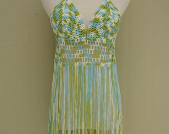 Tie Dye Fringe Crochet Thong Bikini Halter Crop Top Hippie Festival Clothes