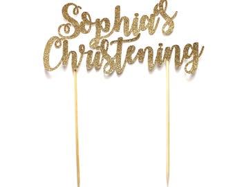 Personalised Christening Cake Topper ~ Gender Neutral Custom Name Christening Cake Topper ~ Baptism Cake Topper ~ Pink & Gold Glitter Cake ~