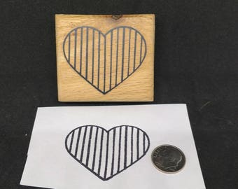Striped heart rubber stamp