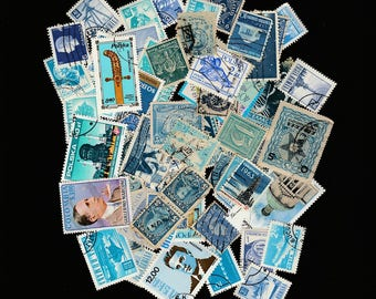 Blue Postage 50 Stamp Lot-Craft Supplies-Scrapbooking-Vintage Paper Ephemera-Used Postal Sticker Decoration-Space Science-Buildings-People