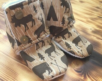 Deer Booties - Stay On Booties -Woodland Slippers - Baby Fall Boots - Woodland Booties - Baby Booties - Gender Netural - Baby Shower Gift