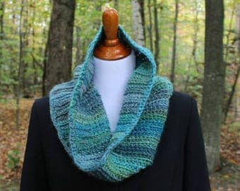 Tall Crochet Cowl, Multicolor Cowl, Wool blend Cowl, Everyday Cowl