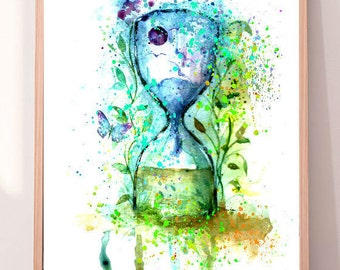 Hour Glass Print,Hour Glass Poster,Time Wall Decor,Sand Timer , Hourglass Decor,Sand Watch Painting,Sand Clock, Gift,INSTANT DOWNLOAD PRINT