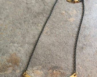 Short Necklace with Black Chain