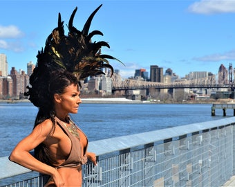 Burning Man Headpiece, Feather Mohawk, Feather Headdress, Carnival Headdress, Burning Man Costumes, Feathered Headdress, Costumes, Headdress