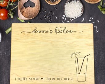 Personalized Cutting Board, Christmas Gift, Custom Name, Engagement Gift, Gift for Her, Anniversary Gift, Kitchen, Cocktails, B-0100