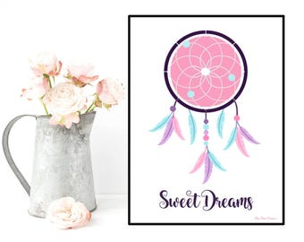 Dreamcatcher poster, Home wall decor, Bedroom kids and nursery wall decor, Design poster, Dreamcatcher print, Inspirational poster quote