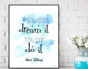 Walt Disney quote, Disney print, Nursery decor, Children poster, Children bedroom wall decor, Kids decor, Nursery art print, Word art