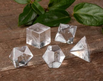5 Piece Set QUARTZ CRYSTAL Platonic Solids - Sacred Geometry Quartz Stone Carving, Chakra Crystal, Meditation Crystal, Healing Crystal E0498