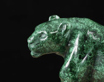 7.5 inch MALACHITE Leopard Stone Carving - Malachite Carving, Malachite, Leopard Figurine, Malachite Crystal, Leopard Sculpture 36739