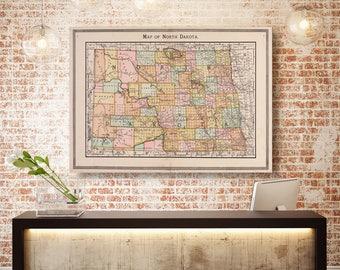 North Dakota State Map, North Dakota Map Canvas, Antiqued North Dakota Map, Wall Decor, North Dakota Wall Decor, Map of North Dakota Canvas