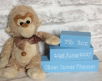 New Baby Gift, Set Of Stacking Blocks, Baby Blue Wood Blocks, Wooden Nursery Decor