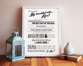 Wedding speech print - groom's speech - father of the bride speech - best man speech - wedding day speech - anniversary gift - 10x8in