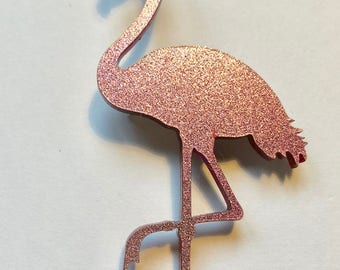 Flamingo brooch pink glitter