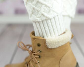 Mosaic Cable Knit Boot Cuffs - White, Charcoal,Brown