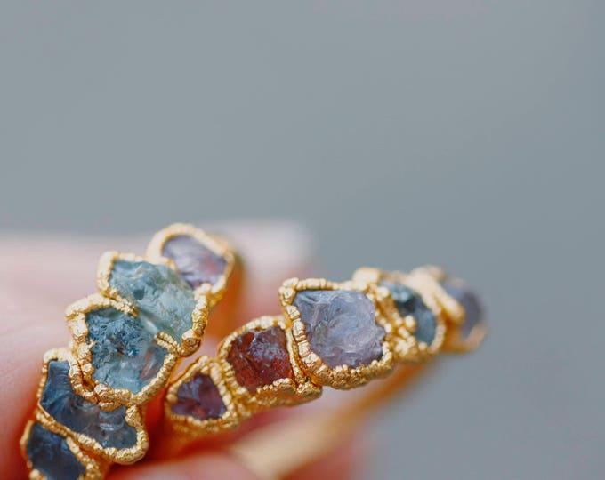 Gold Sapphire & Spinel Ring // September Birthstone