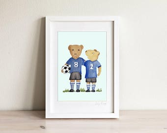 Kids Soccer Art, Kids Football Art, Soccer Print, Football Print, Kids Sport Art, Bear Art, Bear Print, Kids Print, Boys Art, Friendship Art