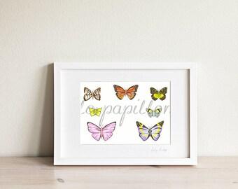 Butterfly Art, Butterfly drawing, butterfly print, gifts for her, pretty wall art, girls art, girls decor, garden decor, Womens art,