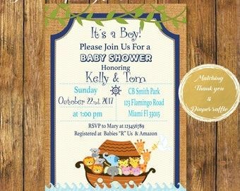 Digital File or Printed Noah's Ark Baby Shower Invitation,Baby Boy Religious Invitation,Noah's Ark Theme Baby Shower Invite,Matching Items