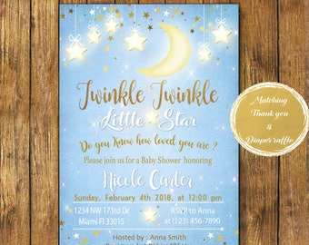 Digital file or Printed-Twinkle Twinkle Little Star Baby Shower Invitation-How We Wonder What You Are-Gold Stars-Customize-Free Shipping