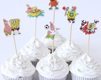 Nickelodeon SpongeBob Cupcake Toppers/ Food Picks, 24 Toppers per Package,  Perfect for Any Kids Party.