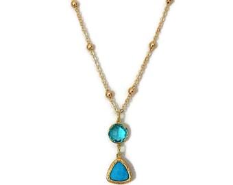 Aqua Glass Pendant Necklace, Glass Pendant Necklace, Aqua Jewel Necklace, Gold Pendant Necklace, Aqua Necklace