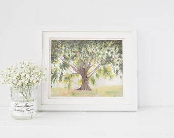 Tree Painting, Watercolor Print, Summer Tree Watercolor