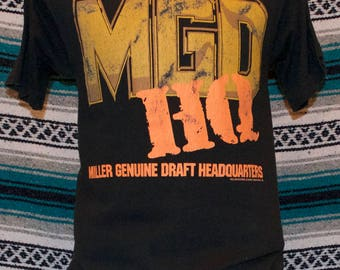 90s MGD Miller Genuine Draft Shirt Black Single Stitch L Large 100% Cotton