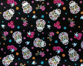 Sugar Skull Glitter Fabric, The Day of the Dead Fabric, Dia De Los Muertos Sugar Skulls Print Fabric, 100% Cotton Fabric by the Yard