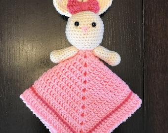 Bunny Lovey - Bunny Security Blanket - Crochet Bunny Blanket - Pink Bunny Blanket - Baby Girl Blanket - Bunny Cuddle Companion - New Baby