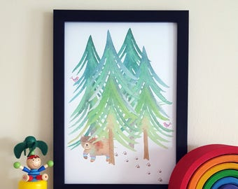 Woodland Bear Print - Woodland Nursery Art - Outdoorsy Print - Bear Poster - Tribal Playroom - Adventure Theme - Bear Nursery