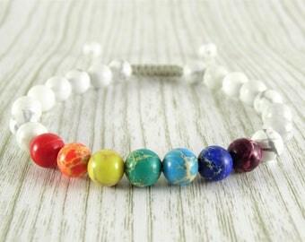 White Chakra bracelet yoga bracelet meditation bracelet mala bracelet reiki bracelet 7 chakras balancing bracelet Good vibes stone yoga gift