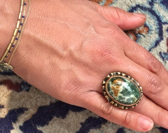 Vintage Turkish Sterling Silver Natural Turquoise Ring, Large Multi Color Turquoise Turkish Silver Ring-Size 7.7