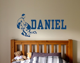 Wrestling Wall Decal Etsy - Custom vinyl lettering wall decals