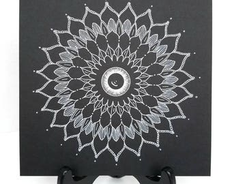 Original Mandala Drawing - Black and White Mandala Drawing - Mandala Art - Original Mandala - Insight Mandala - Intuitive Art - Spiritual