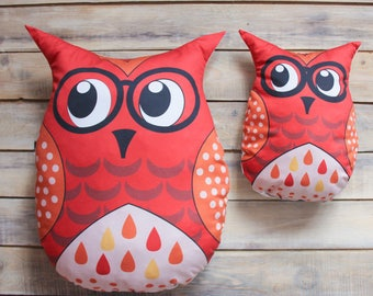 READY TO SHIP! Red owl pillow toy Kids and baby pillow owl Cute bedding toys for boys and girls Baby toy Nursery decoration pillow toy