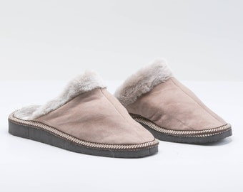 Faded grey shearling slippers for women. Real fur slippers, genuine fur shoes. Sheepskin slippers, fur slippers, shearling fur shoes.
