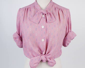 Rectangle Print Bow Collar Long Sleeves Pink Vintage Women Blouse Size M