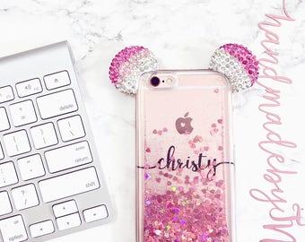 Mouse Ear Liquid Phone case iPhone 7 case iPhone 7 Plus case iPhone 6 case iPhone 6 Plus case iPhone 8 case iPhone 8 Plus case iPhone x case