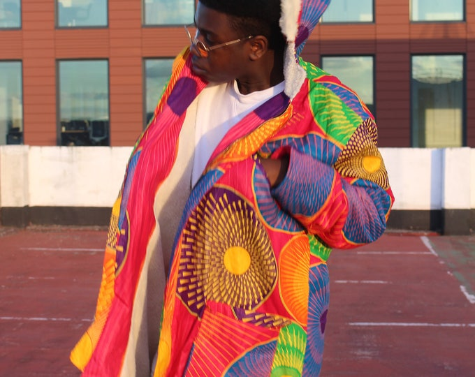 Featured listing image: African Parka - African Jacket - African Coat - African Winter Coat - African Clothing - Wax print Parka - African Winter Clothing - Parka