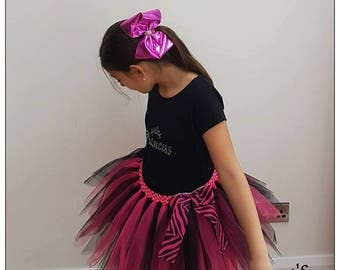 Pop Star Tutu Dress - Rock Star Outfit - Pink and Black Dress - Halloween Outfit - Rock n Roll Ballerina - Glam Rock Girl - Birthday Outfit