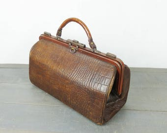 French Vintage leather doctor bag