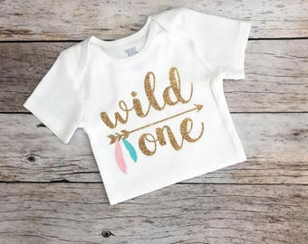 Feather Wild One Birthday Shirt (Customizable Colors), Feather Tribal Birthday Shirt/Baby Girl Bodysuit/Wild One Bodysuit