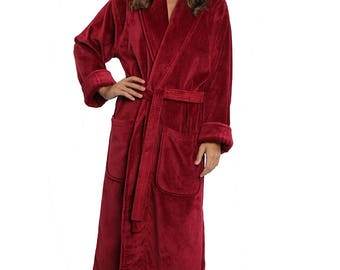 Personalized Terry/Velour Shawl Bathrobe Full Ankle Length , Embroidered Bath Robe,  100%  Combed Pure Turkish Cotton