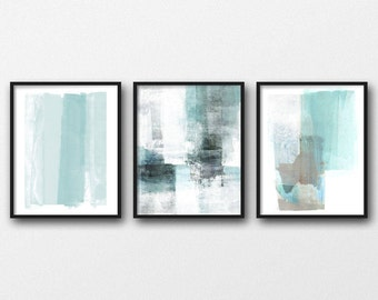 Abstract Painting, Minimalist Art Set Of 3 Prints, Pale Aqua Turquoise Blue Modern Art Triptych Painting, Contemporary Coastal Wall Decor