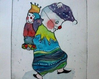 Original dry point etching-by artist Ulrike Mohme