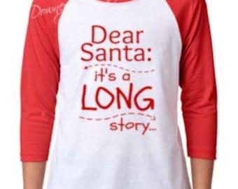 YOUTH Dear Santa its a long story/Unisex 3/4 Sleeve Raglan Baseball T-Shirt