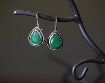Boho Vintage Drop Earrings, Pear Cut Green Gemstone, 925 Silver  -S218-