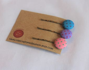 Turquoise, purple, pink Kirby grips - vintage style hair slides, polka dot fabric hair grips, birthday pin, gift for her, stocking stuffer